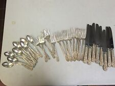 STIEFF CORSAGE STERLING SILVER  SERVICE FOR 6(4 PIECE SETTING) W/ EXTRAS