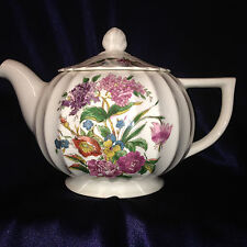 LIMOGES AMERICAN USA WALES TEAPOT 44 OZ WHITE WITH MULTI-COLOR FLOWERS