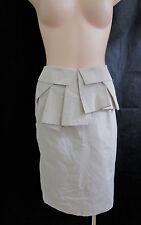 Veronika Maine Size 8 Ecru Taffeta Peplum Skirt NWOT