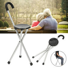 Folding Tripod Cane Hiking Chair Portable Walking Stick With Seat for The Elder