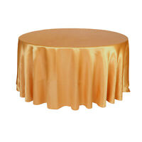 120 inch Round Satin Tablecloth Gold