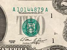 1976 $2 MAJOR ERROR NOTE 3rd PRINT SHIFT ERROR, OVERPRINT SHIFTED SERIAL & SEALS