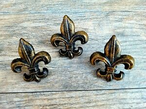 Set of 3 Cast Iron Fleur de Lis Candle Pin Old World Tuscan Medieval Decor Art