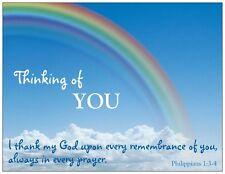 PKG 5 Postcards, Thinking of You , Christian Bible Scripture Philippians 1:3-4