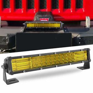 Slim 10inch LED Light Bar Spot Flood Combo Work SUV Boat Offroad Driving Yellow