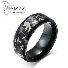 Mens Cocktail Ring Engrave Military Camouflage Fashion Stainless Steel Black New