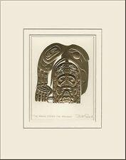 Haida artist BILL REID Embossed GOLD RAVEN STEALS SALMON matted art print
