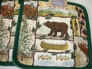 New! S/2 Lodge Moose Bear Wildlife Black Bear Potholders Potholder Set Cotton