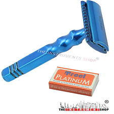 Men Shaving Safety Razors Double Edge Dynamic Blue Handle Razor + 10 Blades Free