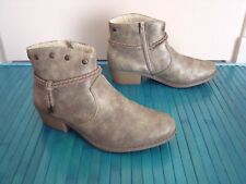 BOTTINES BOOTS RIEKER SIMILI CUIR TAUPE MORDORE POINTURE 39