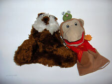 HAND puppets- fuzzy bear??  one cute but strange puppet and a monkey w/frog