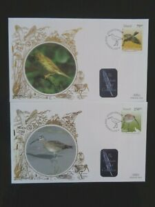 ICELAND 2003 BIRDS STAMPS 2v ON 2 x BENHAM SILK FIRST DAY COVERS SHS VGC