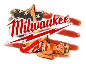 MILWAUKEE TOOLS STICKER DECAL SEXY FLAG GIRL MECHANIC GLOSSY LABEL TOOL BOX USA