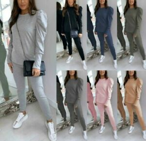 Ladies Womens Ruched Puff Sleeve Top Bottom Lounge Wear Tracksuit Two Piece Set