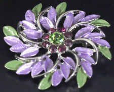 Purple Green Leaf Swirl Pin Brooch with crystals silver tone. Sparkle PIN BROOCH
