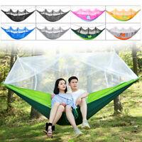 8Pcs/Set Portable Fabric Swing Hammock Hanging Bed & Mosquito Net Camping  *##