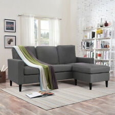 L Shape Sofa Linen Fabric Armchair Couch Settee Padded Chairs Chaise Lounge Home