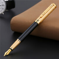 Picasso 902 Gentleman Noble Fountain Pen  Pure Black & Golden Cap F Nib Ink Pen