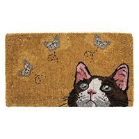 """Abbott Curious Cat & 3 Butterflies Welcome Mat Doormat, Natural Coir, 18"""" x 30"""""""
