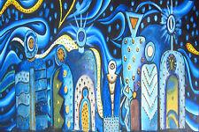 Framed Australia Mimi Gods Aboriginal inspired Art  Painting  COA