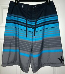 Board Shorts Swim Surf Skate Hurley Black Blue Gray Striped Size 32 Pocket