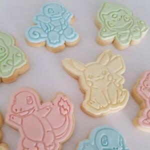Pokemon Cookie Cutter Fondant Baking Cake Embosser Set, Pikachu, Bulbasaur