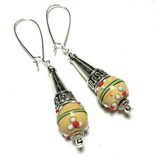 Long Wired Yellow Earrings Glass Bead Drop Dangle Tibetan Silver Style UK MADE