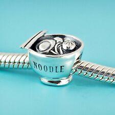 Genuine SOLID 925 Sterling Silver charm bead Japan Ramen Noodles  fits bracelets