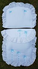 White blue dolls pramset to fit oberon and coach built doll silver cross prams