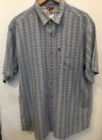 THE NORTH FACE Men's Blue Check Short Sleeve Button Up Polo Shirt XL Big/Tall