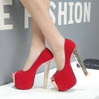 All Size Sexy Nightclub Womens Peep Toe high Platform heels Party Pumps Shoes