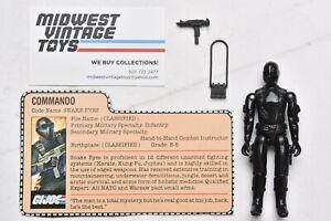 Vintage GI JOE ACTION FIGURE 1982 Straight Arm Snake Eyes 100% Complete - HASBRO