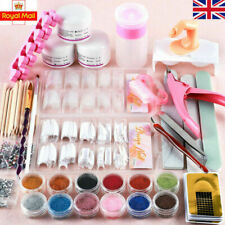 Acrylic Nail Kit Acrylic Powder Glitter Nail Art Manicure Tool Tips Brush Set UK