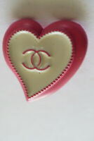 Stamped Vintage Heart Chanel Button logo cc pink