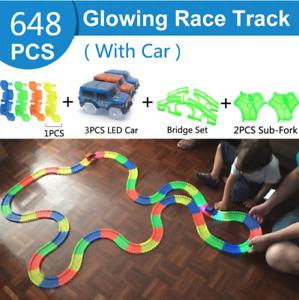 Electric Race Track Magic Rail Car Toy Glowing Racing Tracks Car Educational Toy