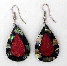 Boucles d'oreilles en nacre abalone et corail rouge forme goutte artisanat Bali