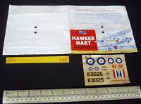 Early 1960s Vintage Airfix Header & Decal (No Kit) Hawker Hart Day Bomber (L25)