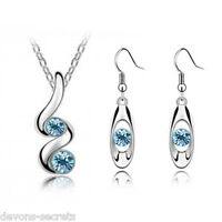 ladies blue silver wedding bridal gift jewellery dangle earring necklace set N2