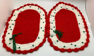 VINTAGE Christmas Placemats Handmade Crocheted Red Green White Set Of 2