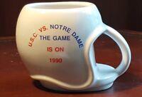 Vintage Mug USC Trojans vs Notre Dame Fighting Irish Helmet The Game is On 1990
