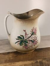 """Shabby Farmhouse Royal Ironstone China Warranted Pitcher Floral Gold Trim 8"""""""