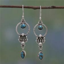Vintage Boho 925 Silver Turquoise Gemstone Drop Dangle Hooks Women Earrings Gift