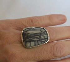 Silpada Sterling Silver Abstract Ring Black White Agate R2761 Retired Size 7.5