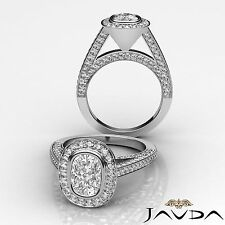 Bezel Set Cushion Diamond Engagement GIA F SI1 Clarity 14k White Gold Ring 2.7ct