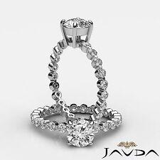 Brillante Diamante Redondo Compartido Engarzado Anillo de Compromiso GIA G VS2