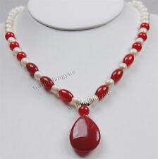 7-8mm Natural White Akoya Cultured Pearl/Ruby pendant(20x30mm) Necklace 18""