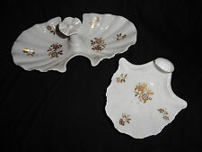 """Set of 2 Spode Sea Shell """"Beaumont"""" Candy  Appetizer Dishes White w Gold Flowers"""