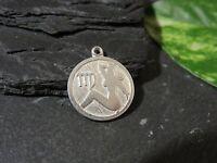 Kleiner 925 Silber Anhänger Sternzeichen Tierkreiszeichen Jungfrau Akt Rund Edel