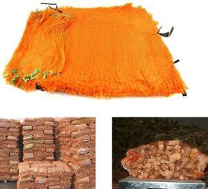 100 Orange Net Sacks 35cm x 50cm Holds 10Kg Mesh Woven Bags Kindling Logs Onions