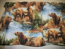 Brown Bear wildlife mancave Pine Tree fishing kitchen fabric curtain Valance